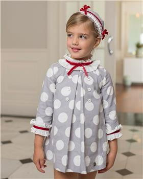 Dolce Petit Girls Spotted Dress 26-2241-V-19 GREY