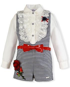 Miranda girls blouse and bib short 26-0241-2M