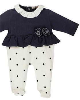 EMC baby girls polka dot all-in-one BQ6290-19 NAVY