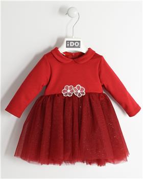 I Do baby girls knitted dress with sleeves 4K415-19 Red