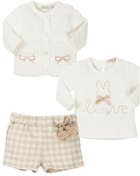 EMC Baby Girls Top-Short & Cardigan BX1574-6366-1456-19 CREAM
