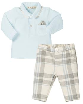 EMC boys polo & checked trousers BX1581-6372-19 Bl/Bei