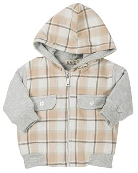 EMC boys checkered jacket CE1464-19 Bei/Gry