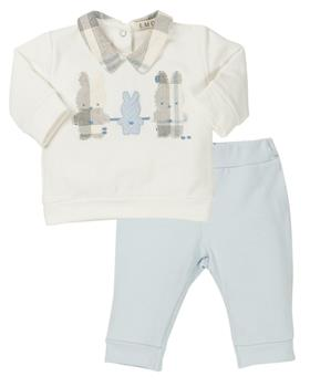EMC baby boys checked rabbit 2 piece CO2605-19 Bl/Wh