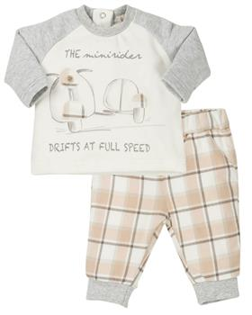 EMC baby boys motorbike checkered outfit CO2608-19 Gry/Bei
