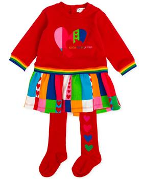Agatha Ruiz De La Prada Girls Dress & Tights 8326-19 RED