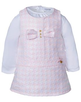 Jacob Matthews girls top & bow dress JMW19-014B Pk/Wh