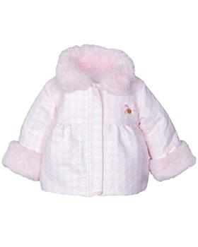 Jacob Matthews girls houndstooth coat JMW19-014D Pk/Wh