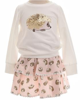 Daga Girls Hedgehog Jumper & Skirt M7579-7577-19 CREAM