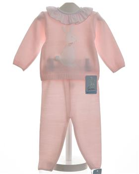 Granlei baby girls knitted bunny jumper & pant 1164-19 Pink