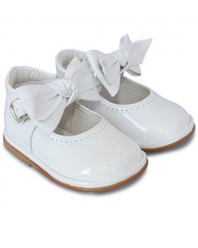 Borboleta Girls Shoe with Bow 2412-18 WHITE