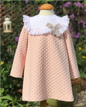 Rochy girls waffle winter dress T06020 Blush