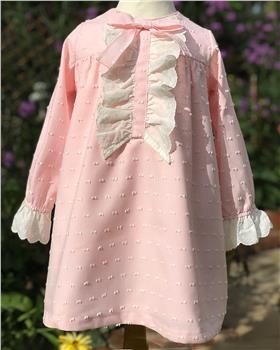 Rochy girls winter dress with frill bodice T06030 pink