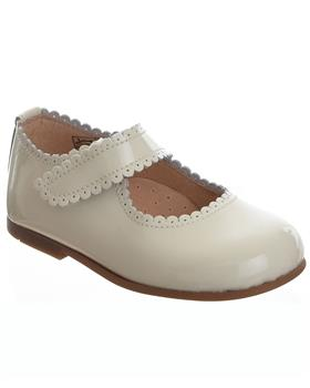 TNY Girls Mary Jane velcro fasten shoe 14054 Cream Patent