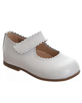 TNY Girls Mary Jane velcro fasten shoe 14054 White Patent