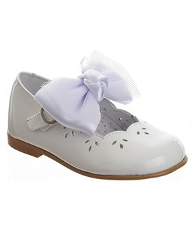 TNY Girls Mary Jane with detachable bow 14105 White Patent