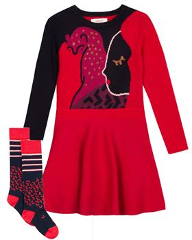 Catimini girls dress & socks CP30245-93085-19 Red