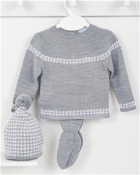 Macilusion baby boys knitted three piece suit 7403-19 Dark Grey