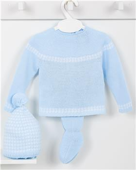 Macilusion baby boys knitted three piece suit 7403-19 blue