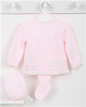 Macilusion baby girls knitted three piece suit 7408-19 pink