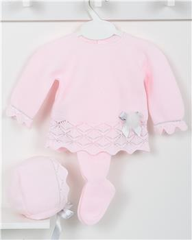 Macilusion baby girls knitted three piece suit 7409-19 pink
