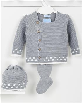 Macilusion baby boys knitted three piece suit 7410-19 Dark Grey