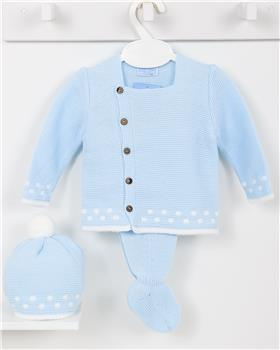 Macilusion baby boys knitted three piece suit 7410-19 blue