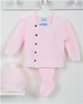 Macilusion baby girls knitted three piece suit 7410-19 pink