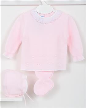 Macilusion baby girls knitted three piece suit 7413-19 pink