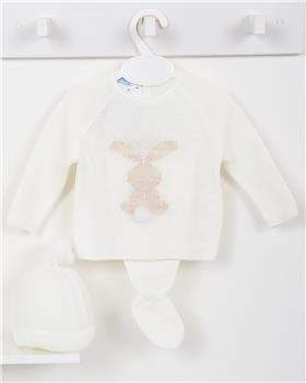 Macilusion baby boys knitted three piece suit 7415-19 Cream