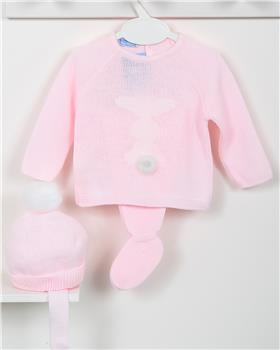 Macilusion baby girls knitted three piece suit 7415-19 pink