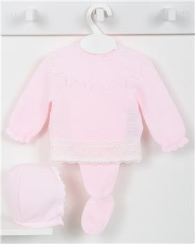 Macilusion baby girls knitted three piece suit 7416-19 pink