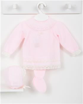 Macilusion baby girls knitted three piece suit 7417-19 pink