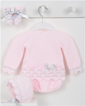 Macilusion baby girls four-piece knitted suit 7421-19 pink