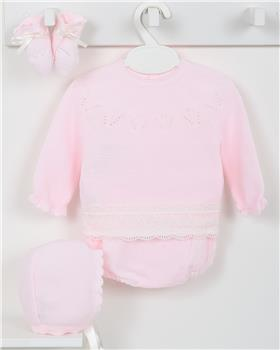 Macilusion baby girls four-piece knitted suit 7422-19 pink