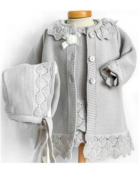 Macilusion knitted baby coat bonnet & dress 7476-7450-19 Grey