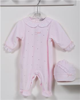 CoCo baby girls babygrow & hat CCA5873-19 Pink