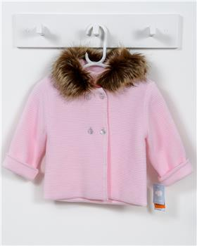 Macilusion knitted jacket with fur hood 7481-19 Pink