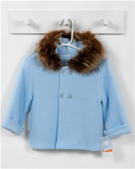Macilusion knitted jacket with fur hood 7481-19 blue