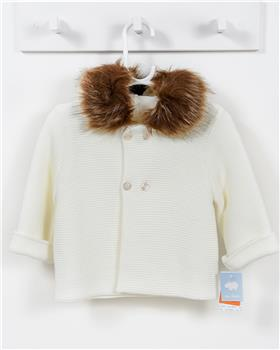 Macilusion knitted jacket with fur hood 7481-19 Cream