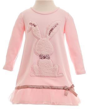 Little Lady girls fluffy rabbit dress PET-15 Pink