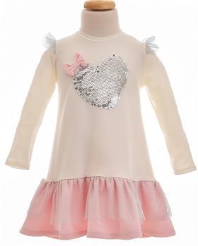 Little Lady girls sequin heart dress STA-12 Cream