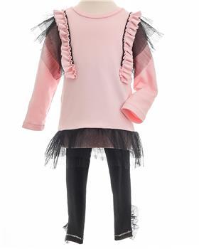Little Lady girls tunic top & leggings BON06-07 Pk/Blk