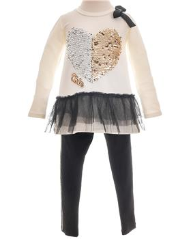 Little Lady girls sequin chic tunic & leggings LAD04-13 Crm/Blk
