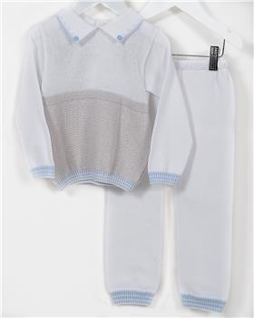 Pretty Originals baby boys jumper & pant JPJ2180-19 WH-GR-BL