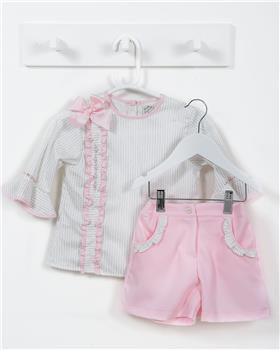 Pretty Originals Girls Blouse & Shorts MC01216-19 CR/PK