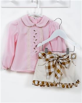 Pretty Originals Girls Blouse & Shorts MC01225-19 CR/PK