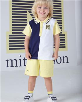 Mitch & Son boys polo and short set MS1351-20 Lemon
