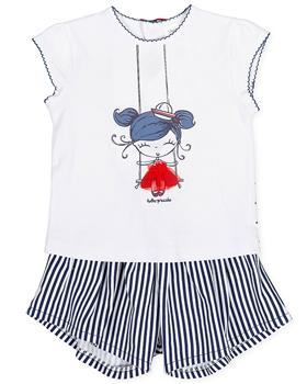 Tutto Piccolo Girls Short Set 8591-20 Navy