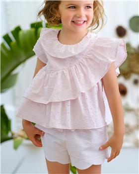 Tutto Piccolo Girls Top & Shorts 8013-8310-20 Wh/Pk